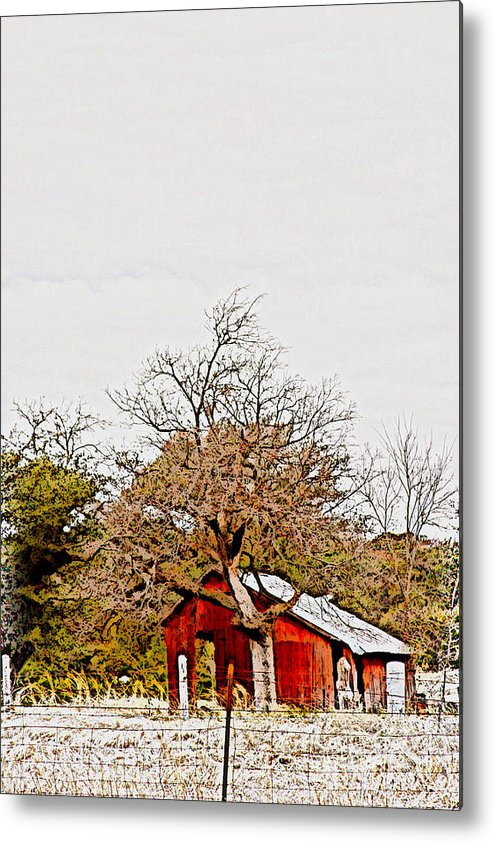 Photography Metal Print featuring the photograph Little Red Shanty - No. 351 by Joe Finney