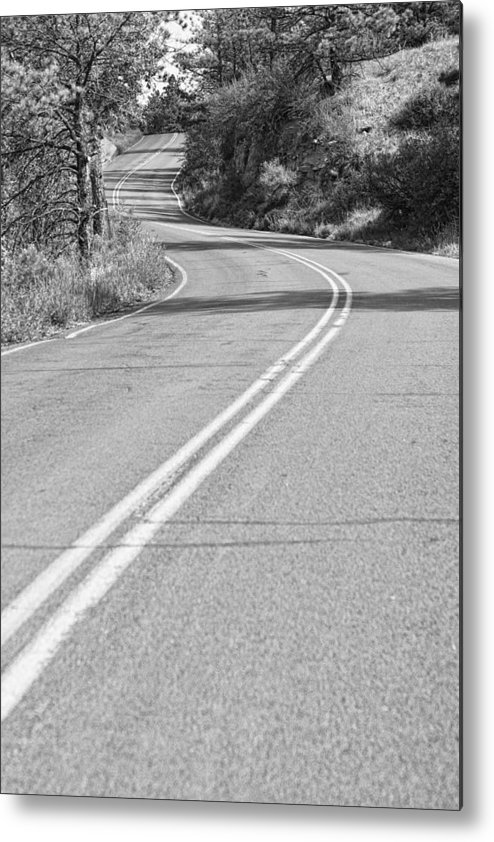 Roads Metal Print featuring the photograph Long And Winding Road Bw by James BO Insogna