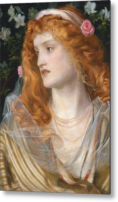 Pre-raphaelite; Victorian; Female; Veil; Auburn; Redhead; Red-haired; Heroine; The Tempest; Shakespeare; Literature Metal Print featuring the painting Miranda by AFA Sandys