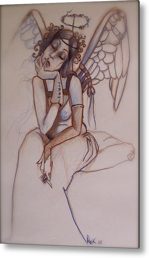 Angel Blues Metal Print featuring the drawing Missing Him by Jackie Rock