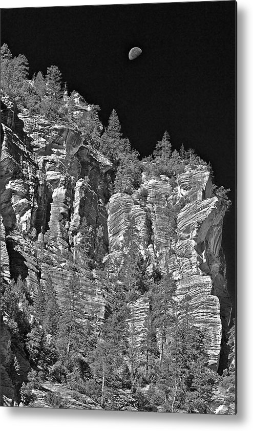 Cliffs Metal Print featuring the photograph Moonlit Cliffs by Phyllis Denton