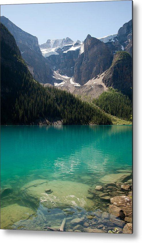 Vertical Metal Print featuring the photograph Moraine Lake by Lynn Koenig