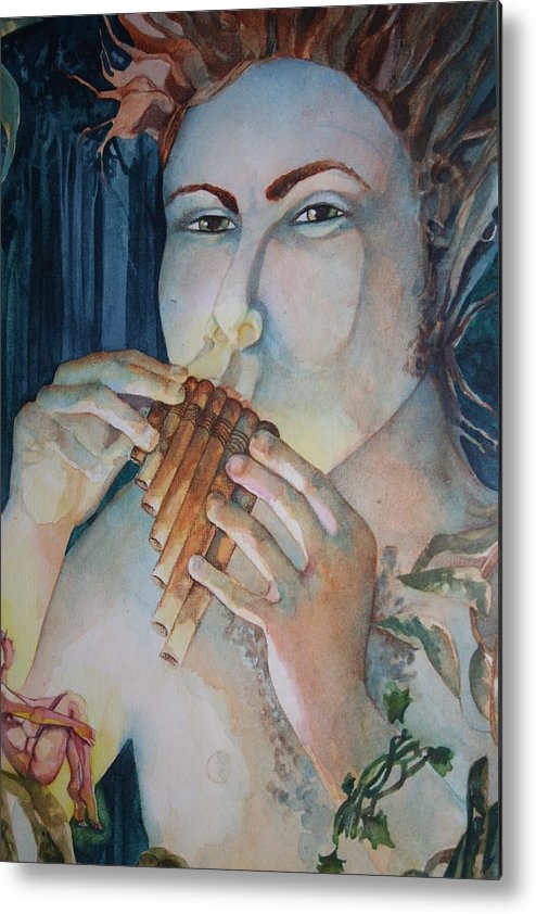 Pan Flute Fife Fairy Mid Summer Nights Dream Metal Print featuring the drawing Pan 2 by Jackie Rock