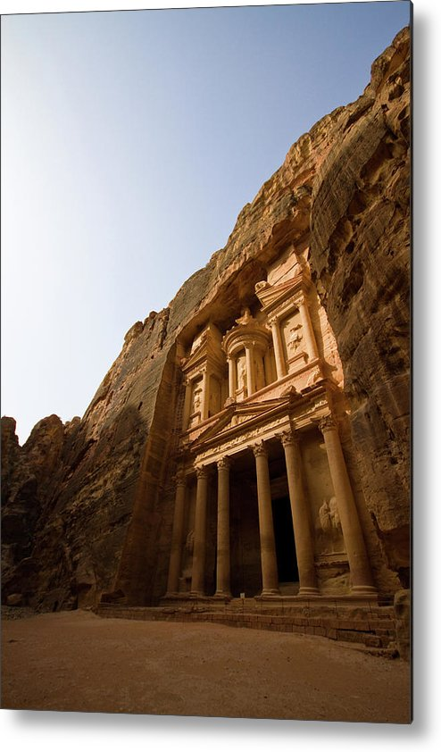 Vertical Metal Print featuring the photograph Petra Treasury At Morning by Universal Stopping Point Photography