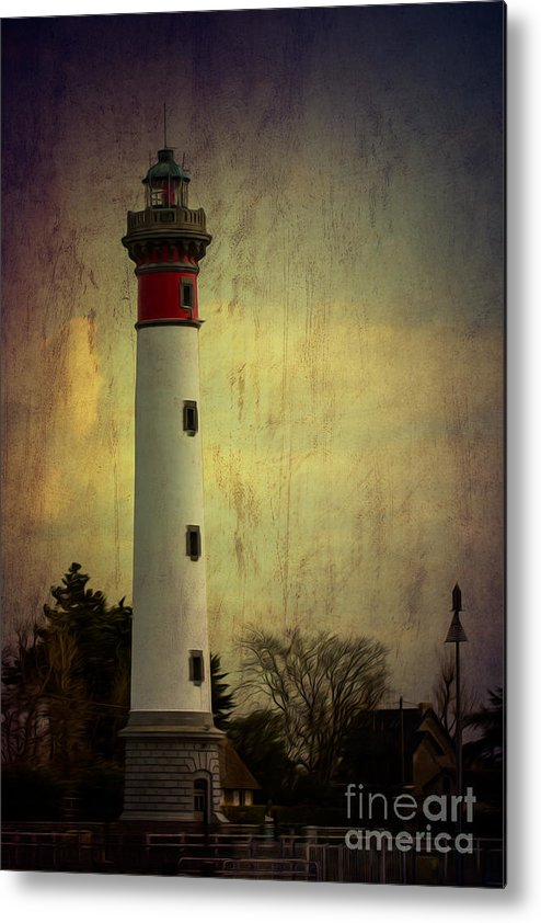 Texture Metal Print featuring the photograph Phare De Ouistreham Or Ouistreham Lighthouse  Caen by Clare Bambers