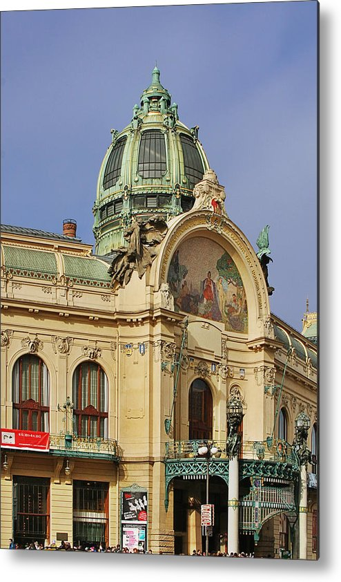 Obecni Dum Metal Print featuring the photograph Prague Obecni Dum - Municipal House by Christine Till