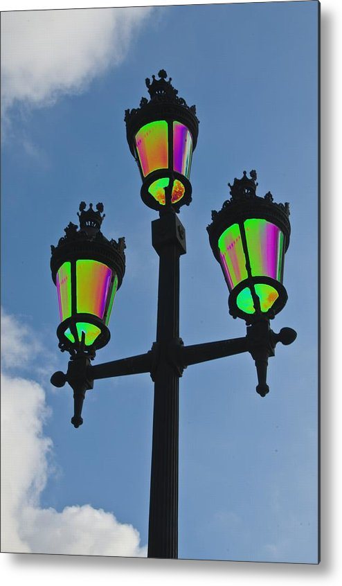 Psychedelic Metal Print featuring the photograph Psychedelic Streetlamps by Richard Henne