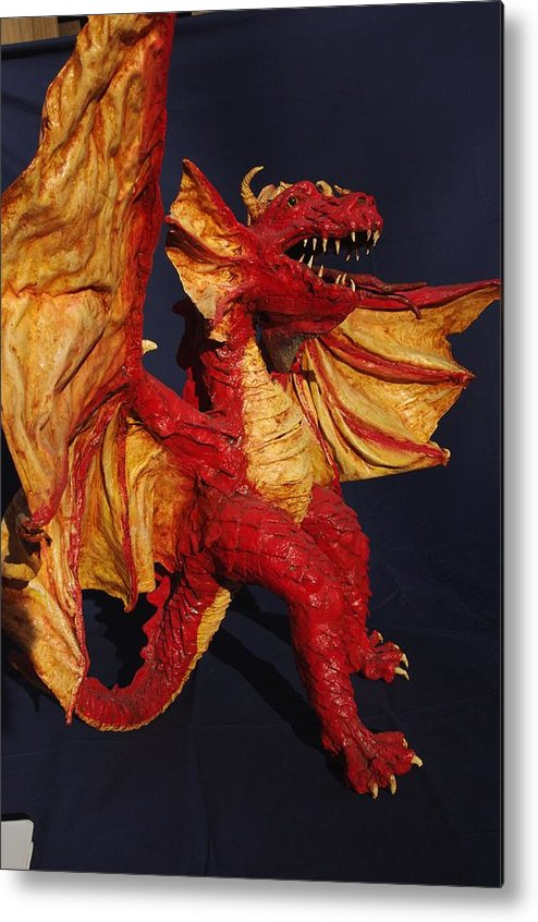 Dragons Metal Print featuring the sculpture Red Dragon by Rick Ahlvers