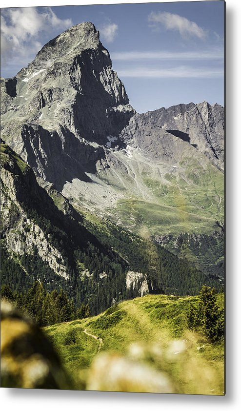 Vertical Metal Print featuring the photograph Rocky Mountains Over Grassy Landscape by Manuel Sulzer