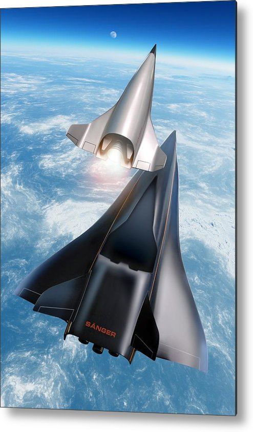 21st Century Metal Print featuring the photograph Saenger Horus Spaceplane, Artwork by Detlev Van Ravenswaay