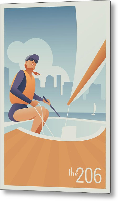 Sailing Metal Print featuring the digital art Sailing Lake Union In Seattle by Mitch Frey