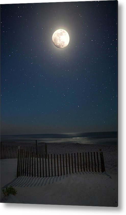 Moon Metal Print featuring the photograph Seaside Moonset by Charles Warren