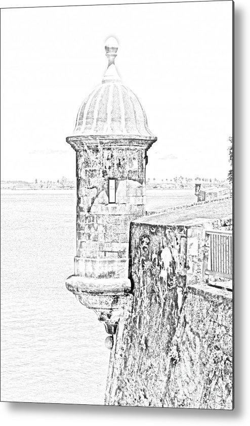 Travelpixpro Puerto Rico Metal Print featuring the digital art Sentry Tower Castillo San Felipe Del Morro Fortress San Juan Puerto Rico Line Art Black And White by Shawn O'Brien