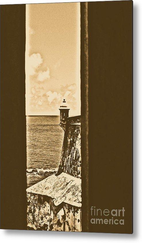 El Morro Metal Print featuring the digital art Sentry Tower View Castillo San Felipe Del Morro San Juan Puerto Rico Rustic by Shawn O'Brien