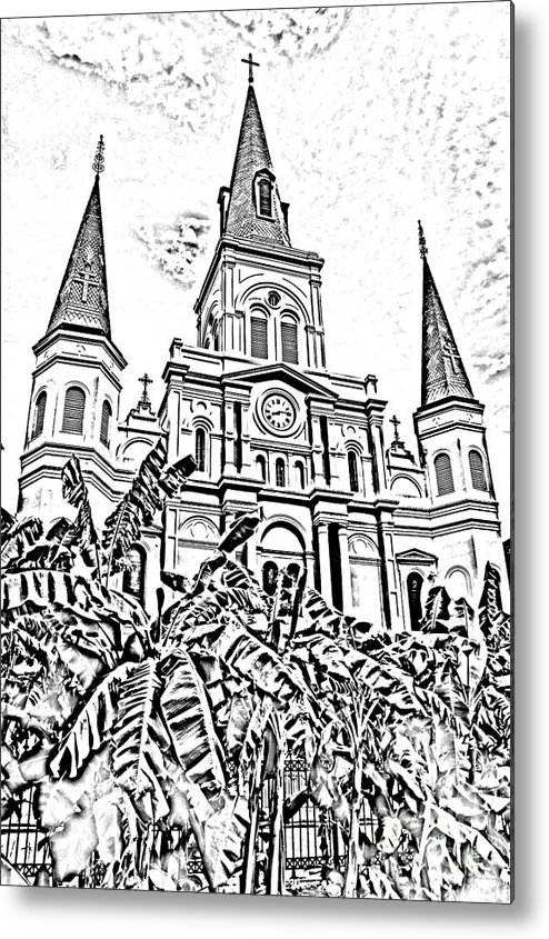 Travelpixpro New Orleans Metal Print featuring the digital art St Louis Cathedral Rising Above Palms Jackson Square New Orleans Photocopy Digital Art by Shawn O'Brien