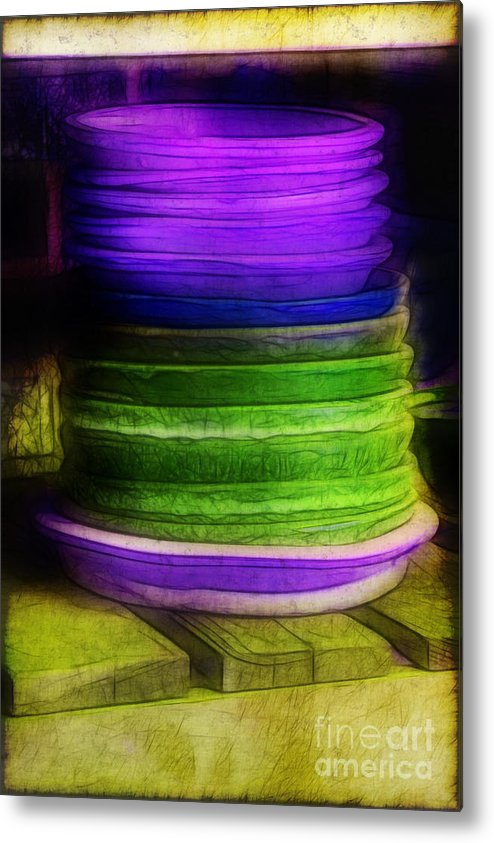 Purple Metal Print featuring the photograph Stack Of Saucers by Judi Bagwell