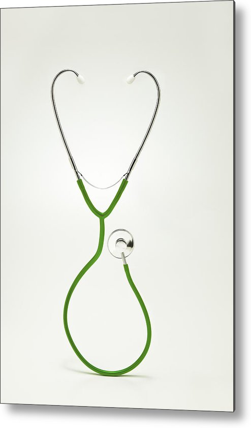 Vertical Metal Print featuring the photograph Stethoscope Forming Hart by Yuji Sakai