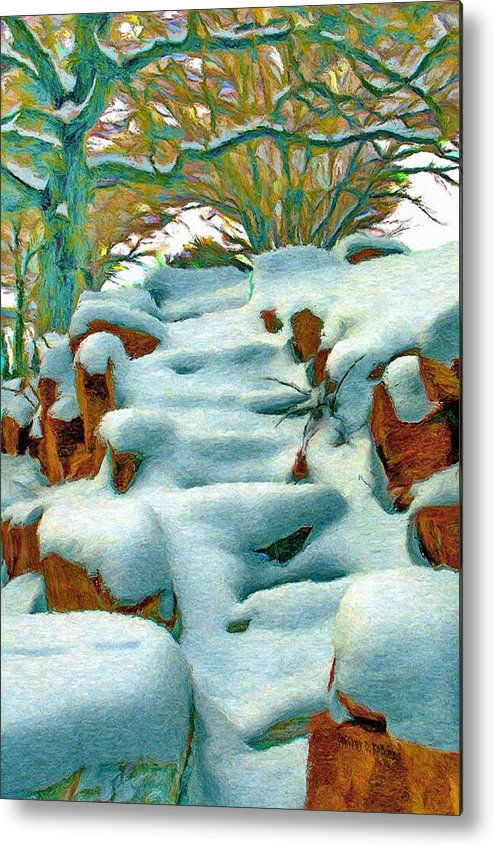 Stone Metal Print featuring the painting Stone Steps In Winter by Jeffrey Kolker