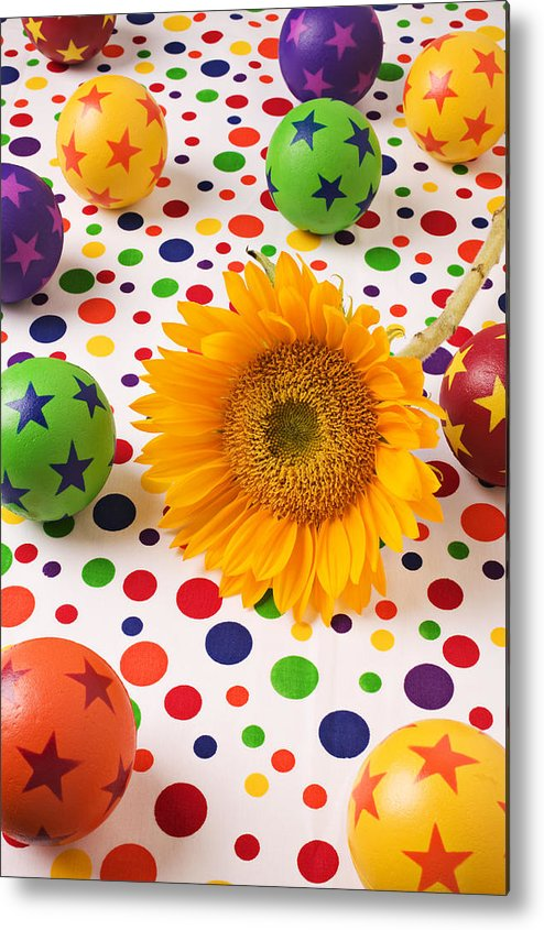 Sunflower Metal Print featuring the photograph Sunflower And Colorful Balls by Garry Gay