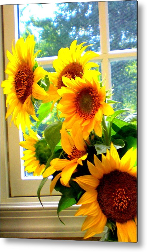 Sunflowers Art Prints Sunflower Prints Decorative Framed Prints Metal Print featuring the photograph Sunny In Md 1 by Danielle Parent