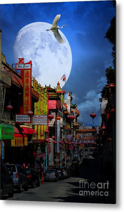 San Francisco Metal Print featuring the photograph The Great White Egret Of Chinatown . 7d7172 by Wingsdomain Art and Photography