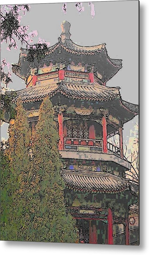 Temple Metal Print featuring the digital art The Temple by Wide Awake Arts