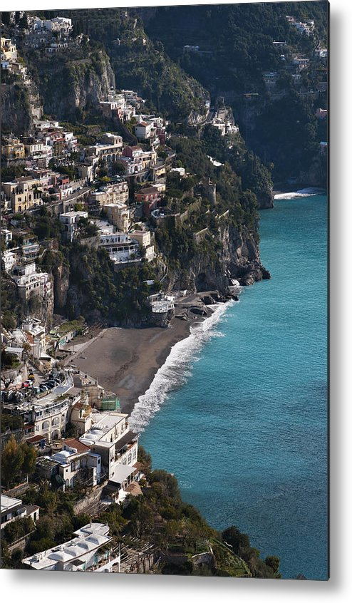 Vertical Metal Print featuring the photograph The Town Of Positano by Driendl Group