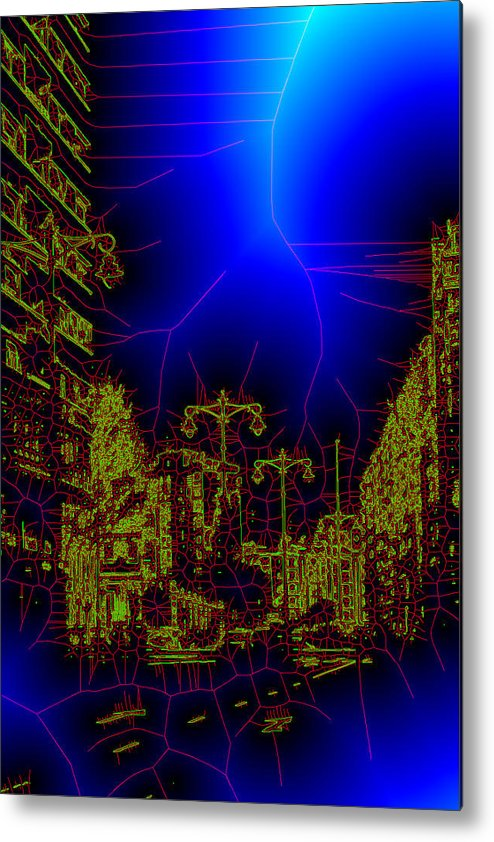 Blue Metal Print featuring the photograph The Urban Network by Angel Jesus De la Fuente
