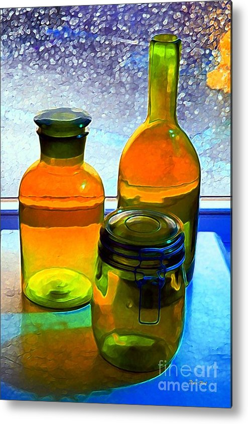 Bottles Metal Print featuring the digital art Three Bottles In Window by Dale  Ford
