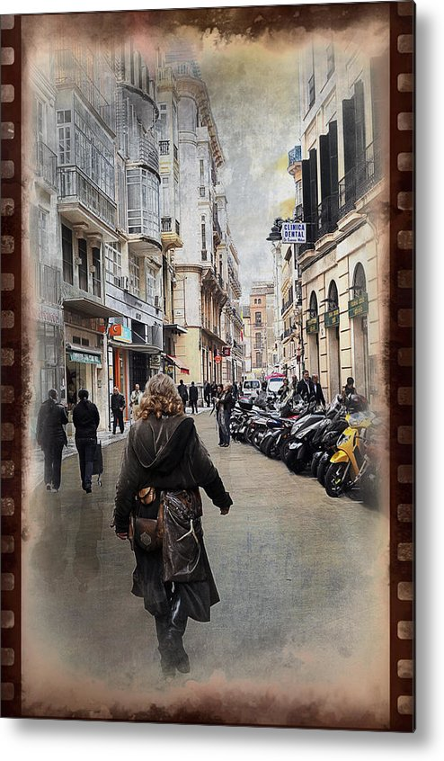 Time Metal Print featuring the photograph Time Warp In Malaga by Mary Machare