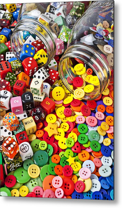 Jar Dice Games Play Numbers Gamble Metal Print featuring the photograph Two Jars Dice And Buttons by Garry Gay