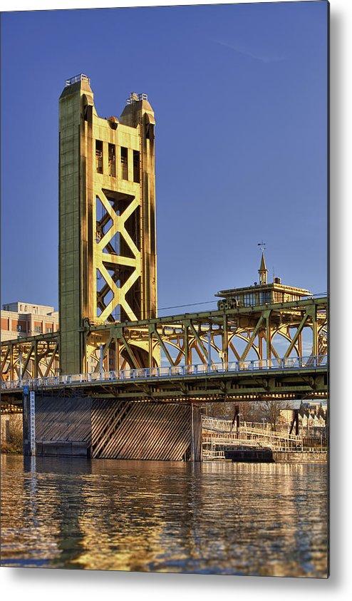 Vertical Metal Print featuring the photograph Usa, California, Sacramento, Tower Bridge Over Sacramento River by Bryan Mullennix