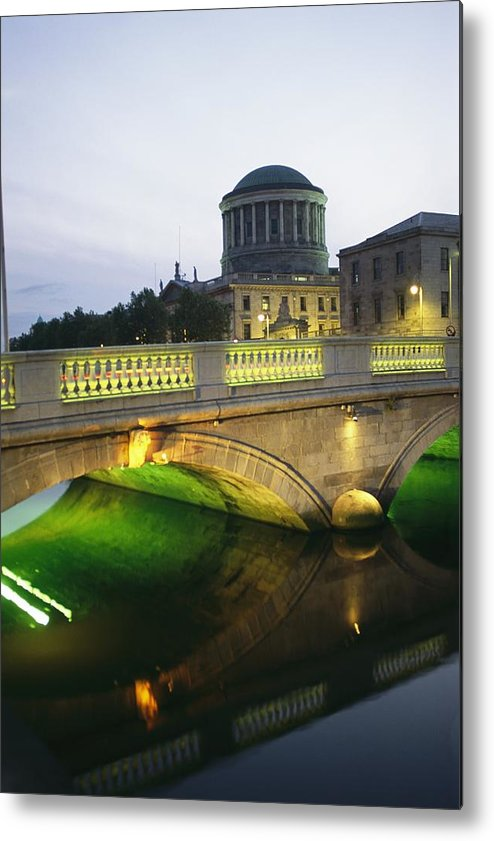 Structures Metal Print featuring the photograph View Of The Four Courts And The Liffey by Richard Nowitz