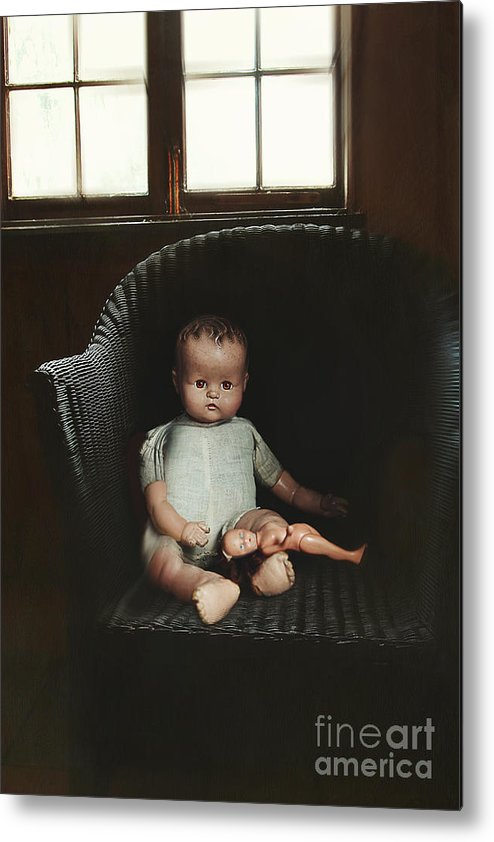 Atmosphere Metal Print featuring the photograph Vintage Dolls On Chair In Dark Room by Sandra Cunningham