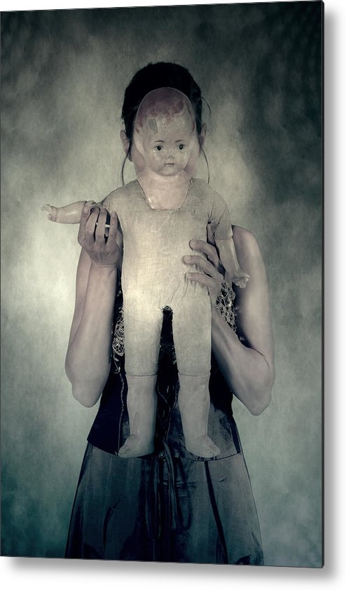 Hide Metal Print featuring the photograph Woman With Doll by Joana Kruse