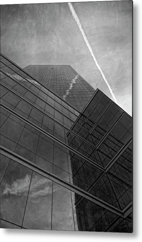Black And White Metal Print featuring the photograph White Plains Office Building 5 by Robert Ullmann