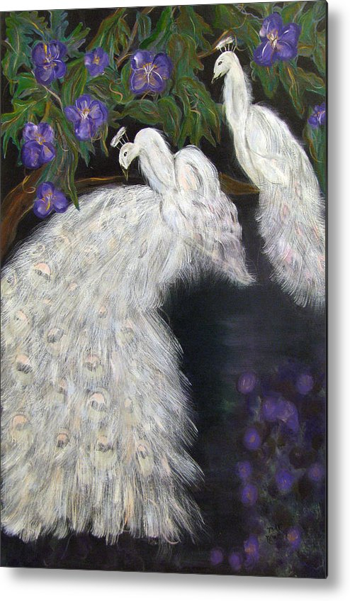 Peacocks Metal Print featuring the painting Albino Peacocks by Mikki Alhart