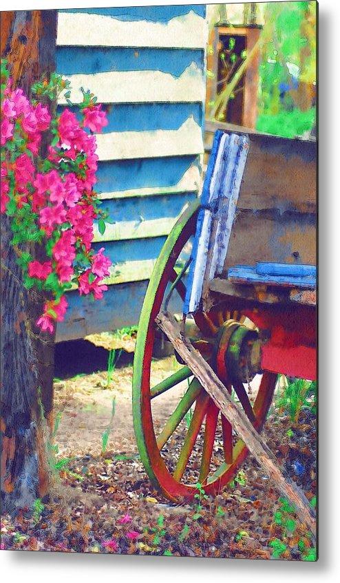 Wagon Wheel Metal Print featuring the photograph Broken Wagon by Donna Bentley