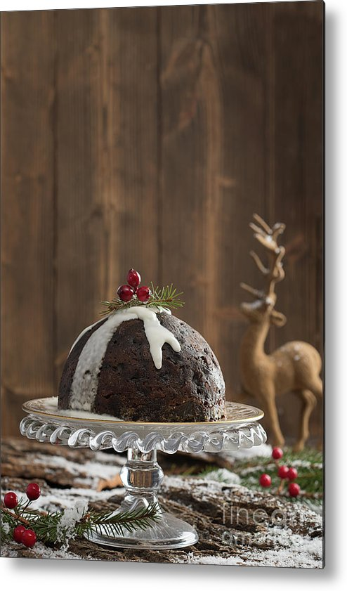 Christmas Metal Print featuring the photograph Christmas Pudding by Amanda Elwell