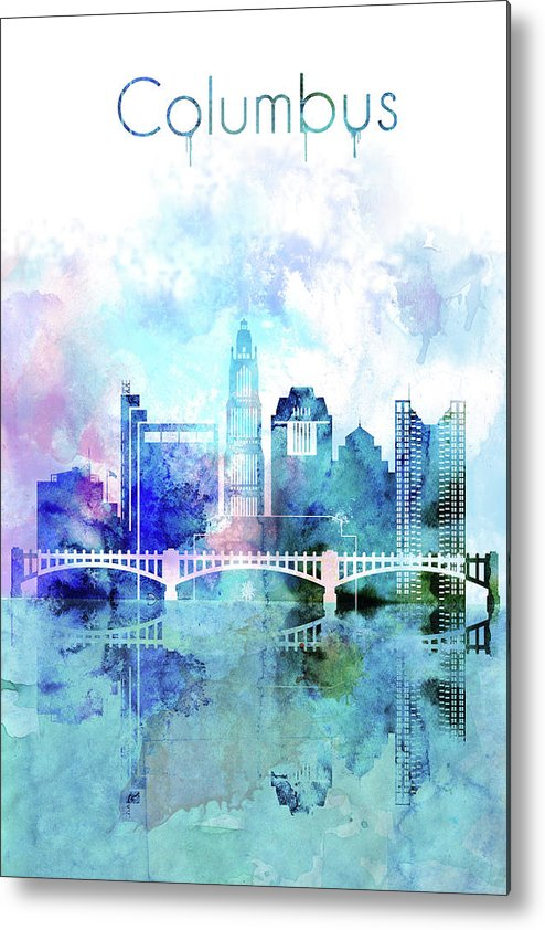 Watercolor Artwork Metal Print featuring the painting Columbus Watercolor Skyline by Dim Dom