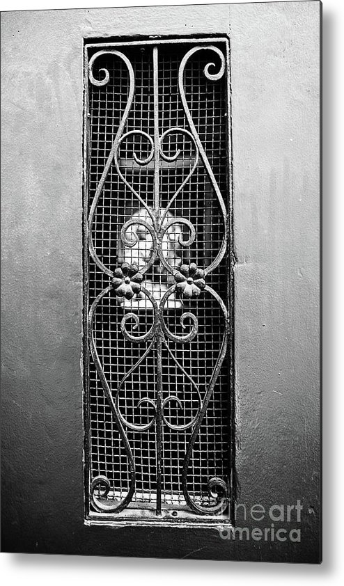 French Quarter Metal Print featuring the photograph French Quarter Window To The Courtyard - Bw by Scott Pellegrin