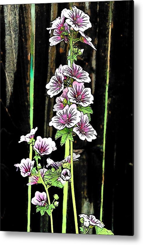 Hollyhocks Metal Print featuring the digital art Hollyhocks by Jennifer Englehardt
