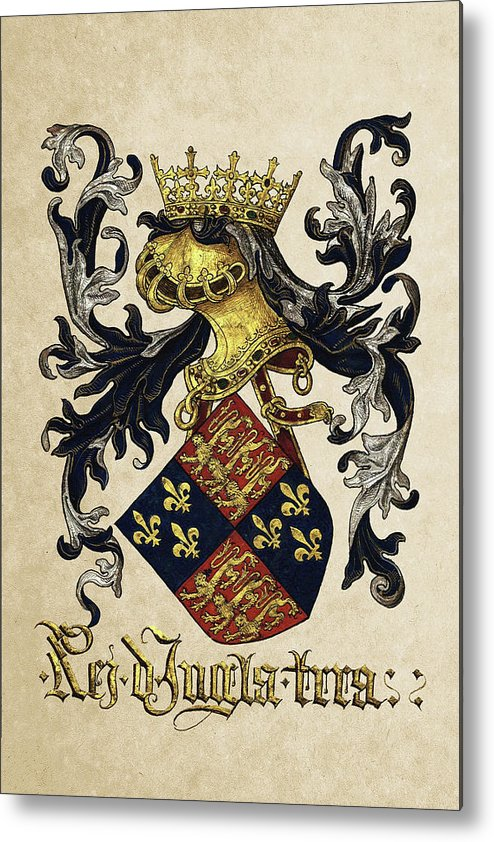 'roll Of Arms� Collection By Serge Averbukh Metal Print featuring the photograph King Of England Coat Of Arms - Livro Do Armeiro-mor 1 by Serge Averbukh