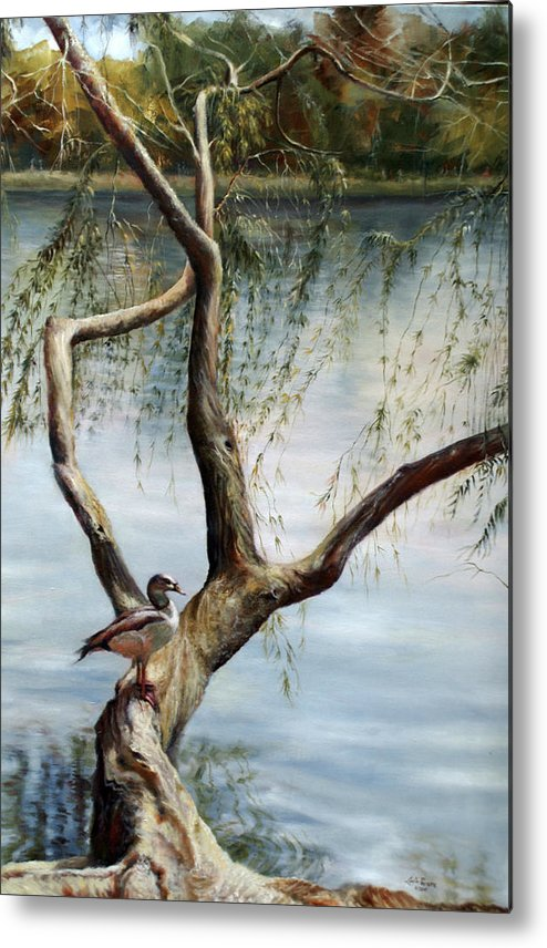 Landscape Metal Print featuring the painting Landscape With Bird In A Tree by Lucia Perrone