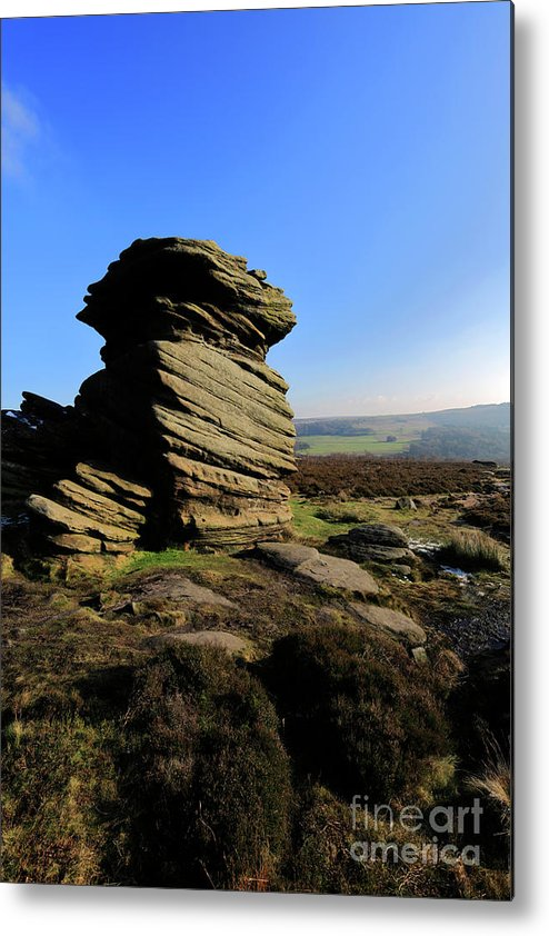 Mother Cap Metal Print featuring the photograph Mother Cap Gritstone Rock Formation, Millstone Edge by Dave Porter