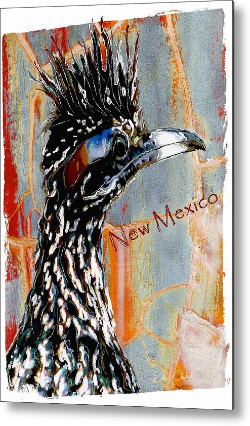 New Mexico Metal Print featuring the mixed media New Mexico Roadrunner by Barbara Chichester