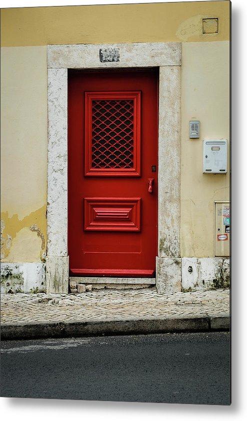 Red Door Metal Print featuring the photograph Red Door by Marco Oliveira