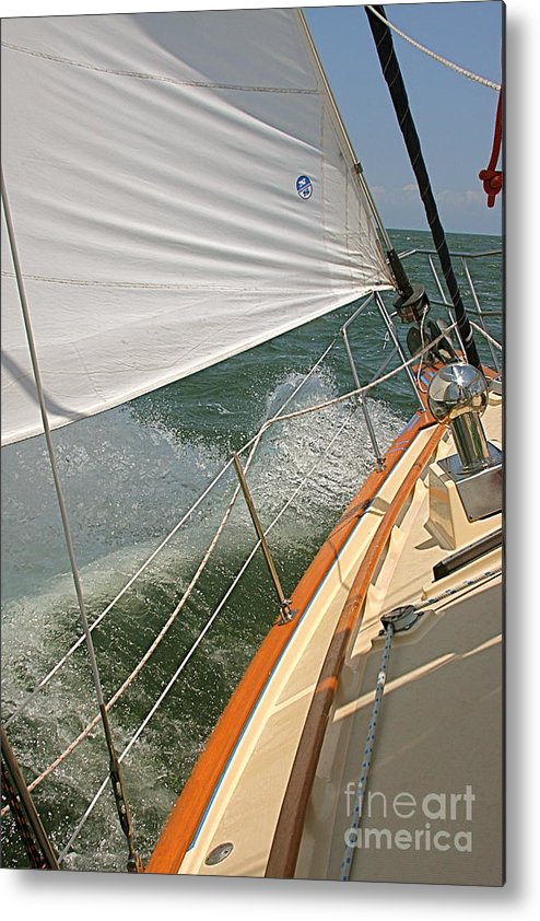 Wave Metal Print featuring the photograph Sailboat by Nicola Fiscarelli