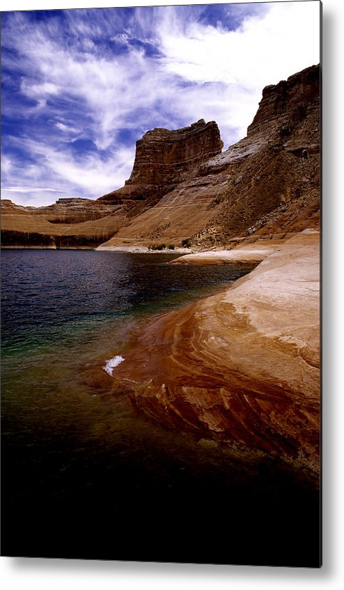 Photography Metal Print featuring the photograph Sandstone Shoreline And Cliffs Lake Powell by Tom Fant