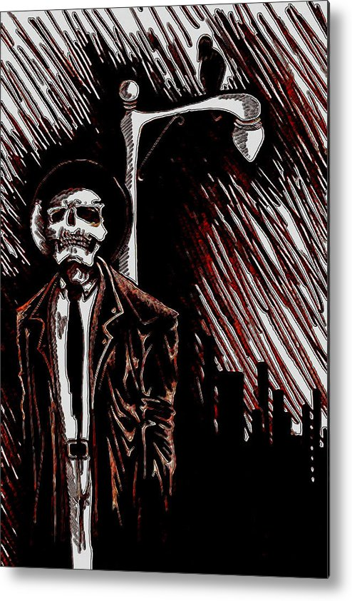 Fantasy Art/ Drawing Metal Print featuring the drawing Streets by Jeff DOttavio